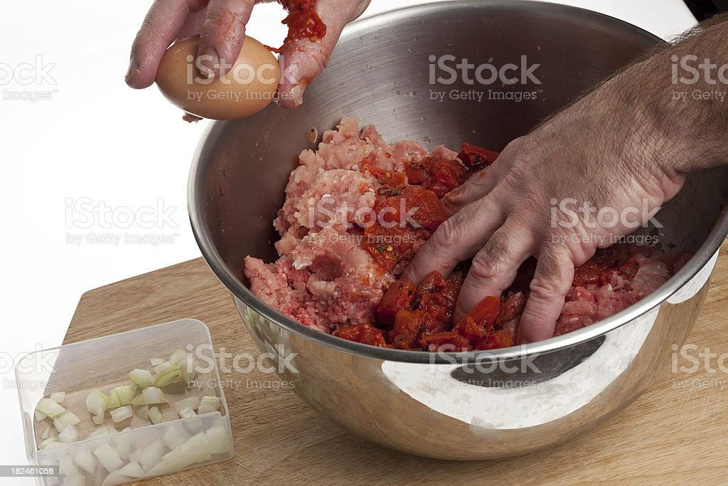 Making Meatloaf stock photo