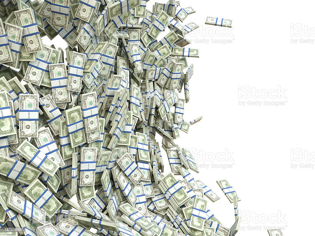 Making money: bunches of US dollar isolated royalty-free stock photo