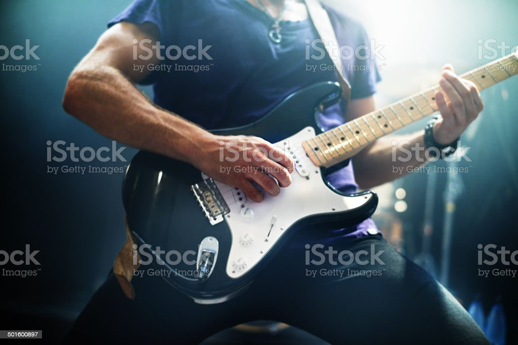 Making music for the fans stock photo