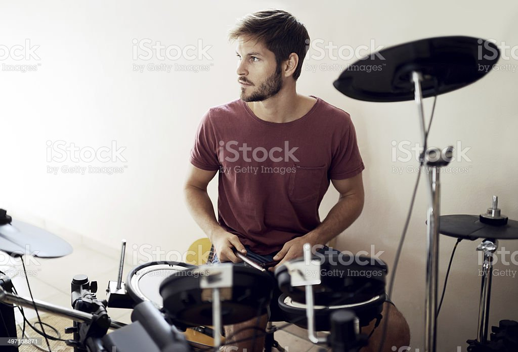 Making music in the Man Cave stock photo