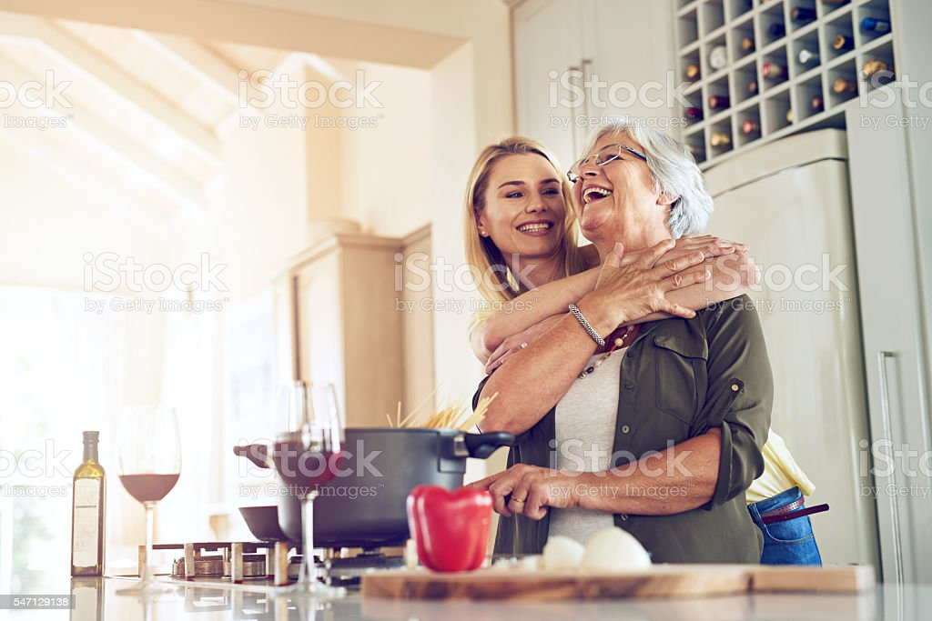 Making my mother happy is what makes me happiest stock photo