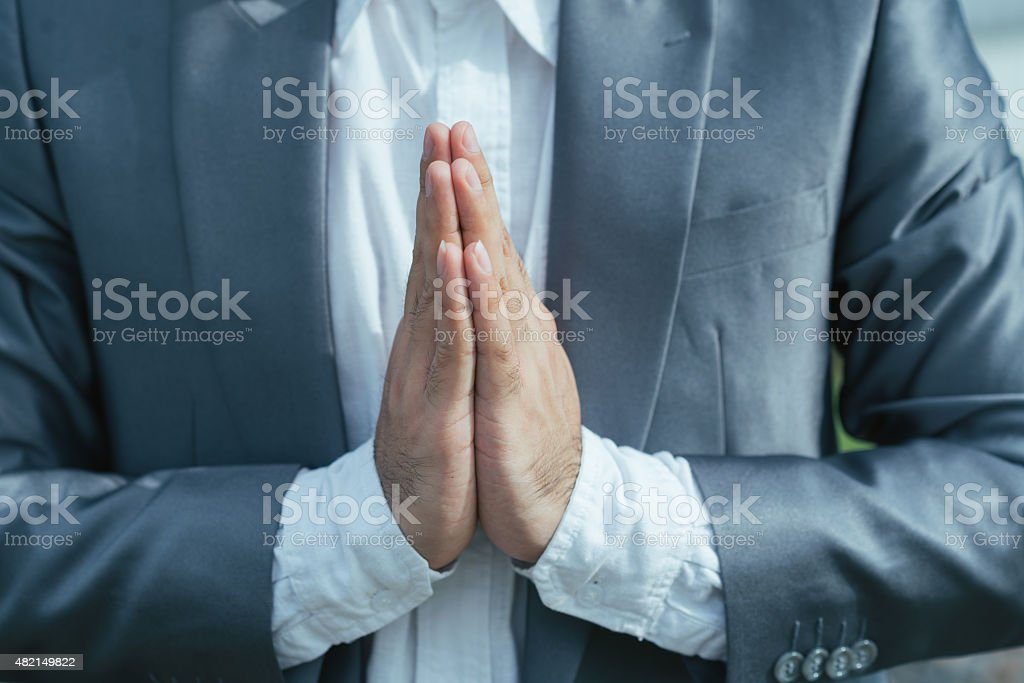 Making Namaste gesture stock photo