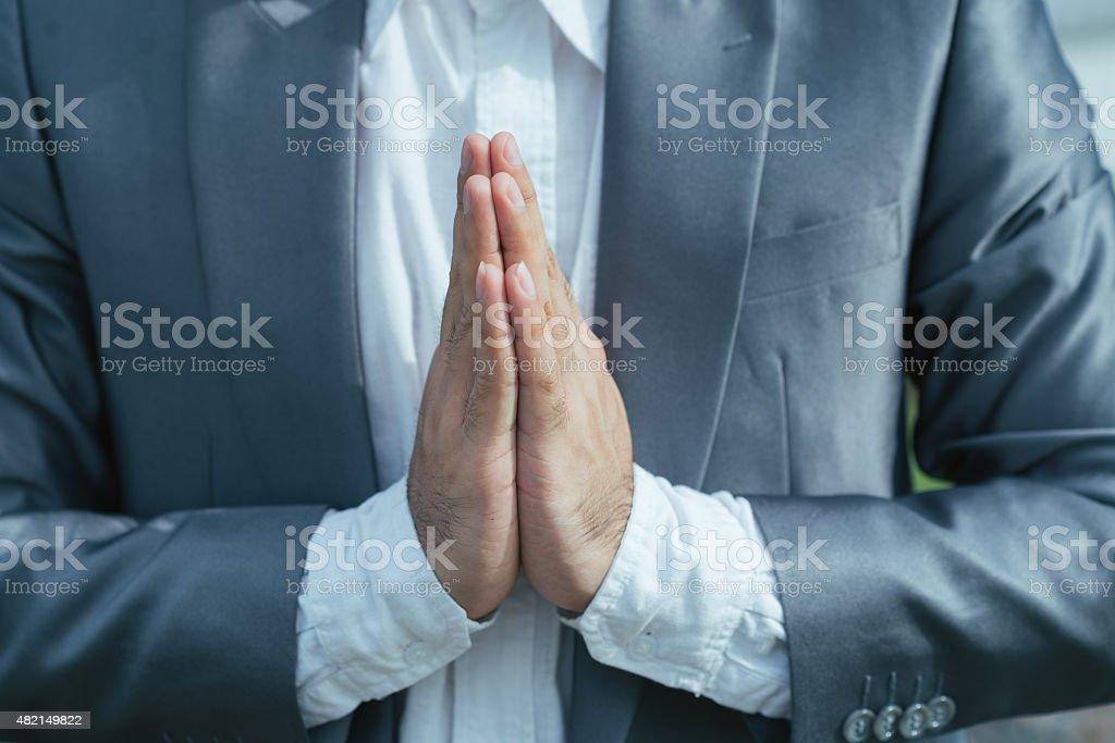Making Namaste gesture stock photo