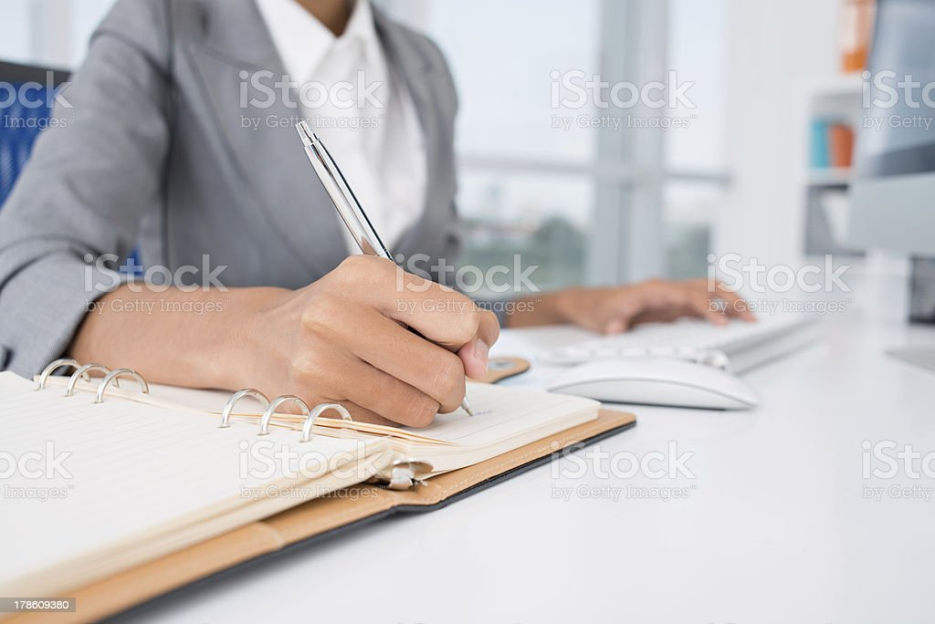 Making necessary notes stock photo