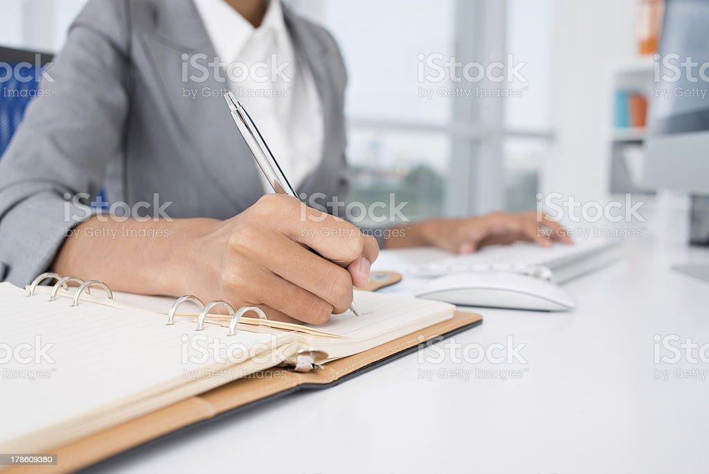 Making necessary notes stock photo