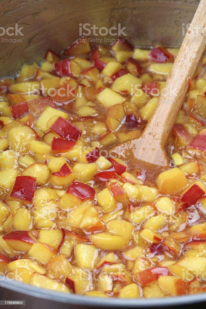 Making nectarine jam royalty-free stock photo