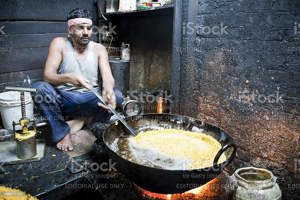 Making Noodles in Manali India stock photo
