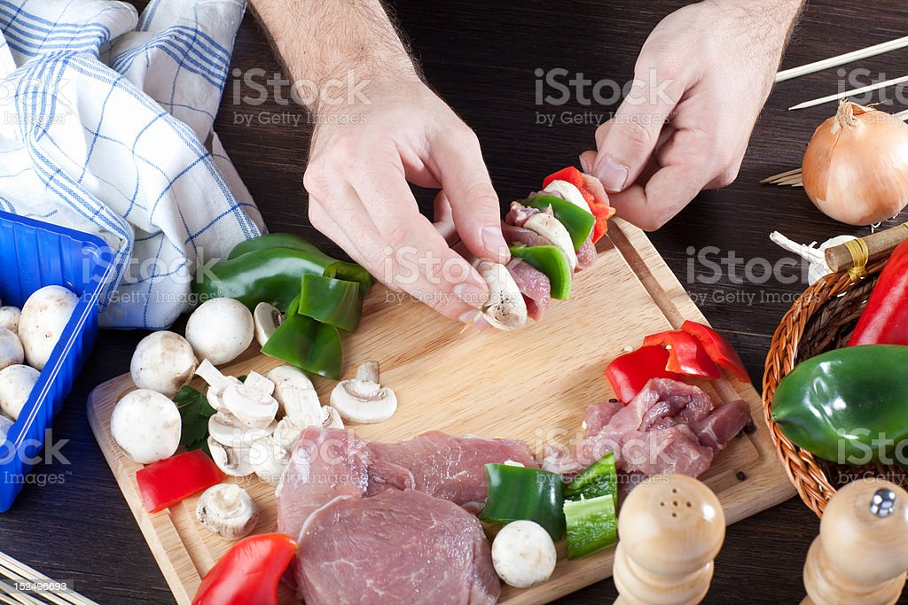 Making of a meat stick royalty-free stock photo