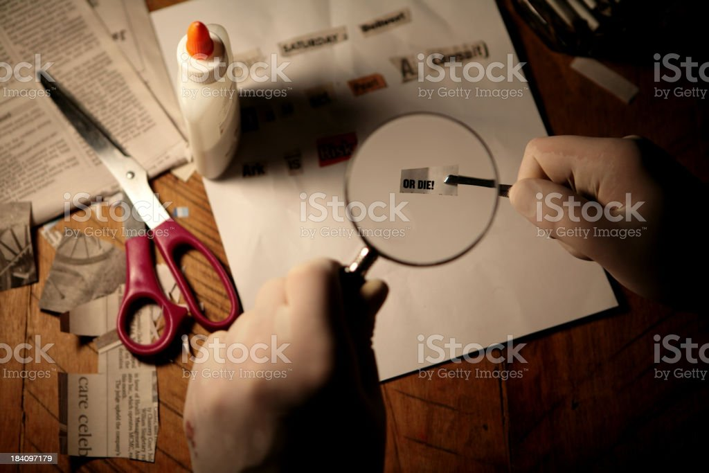 Making of a Ransom Note stock photo