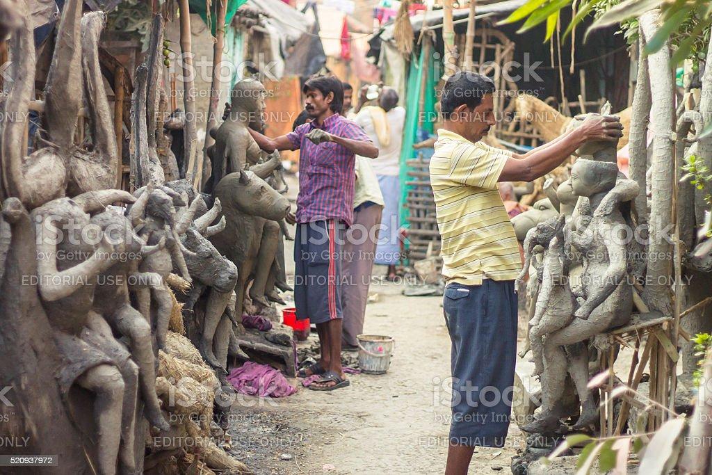 Making of Durga Idols stock photo