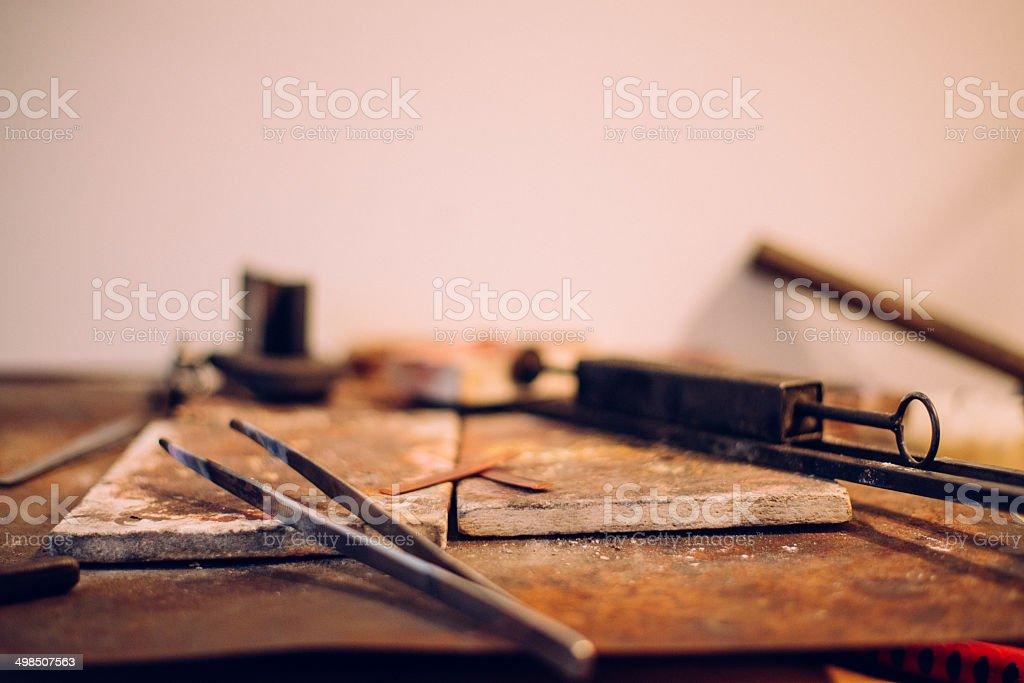 Making of Fine Art Jewellery stock photo