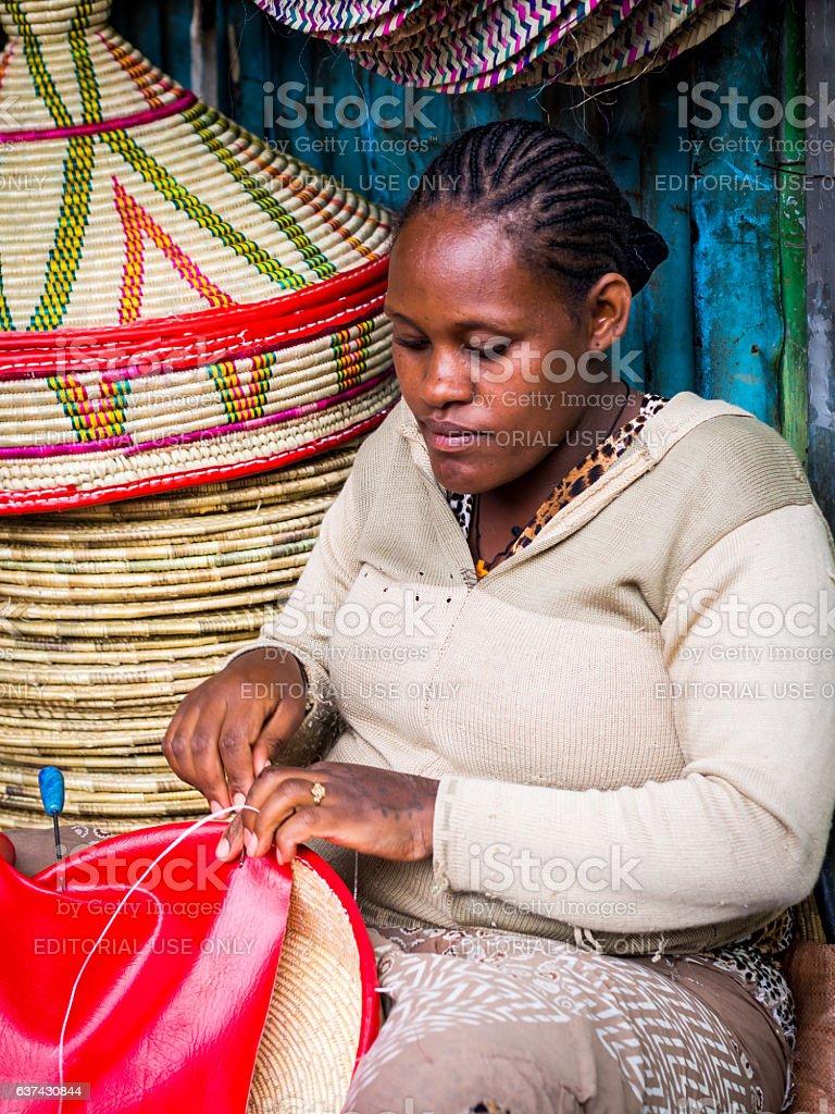 Making of Habesha baskets stock photo