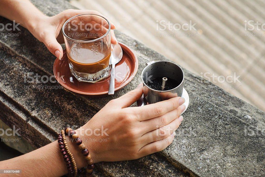 Making of vietnamese coffee stock photo