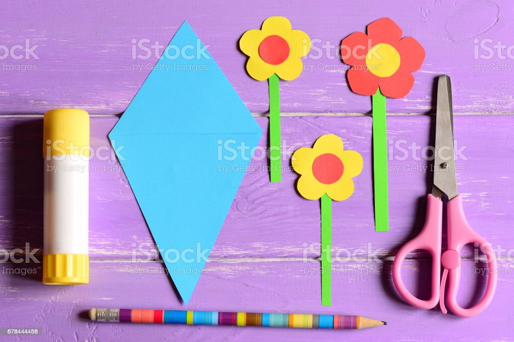 Making paper crafts for mother's day or birthday. Step. Paper flowers stock photo