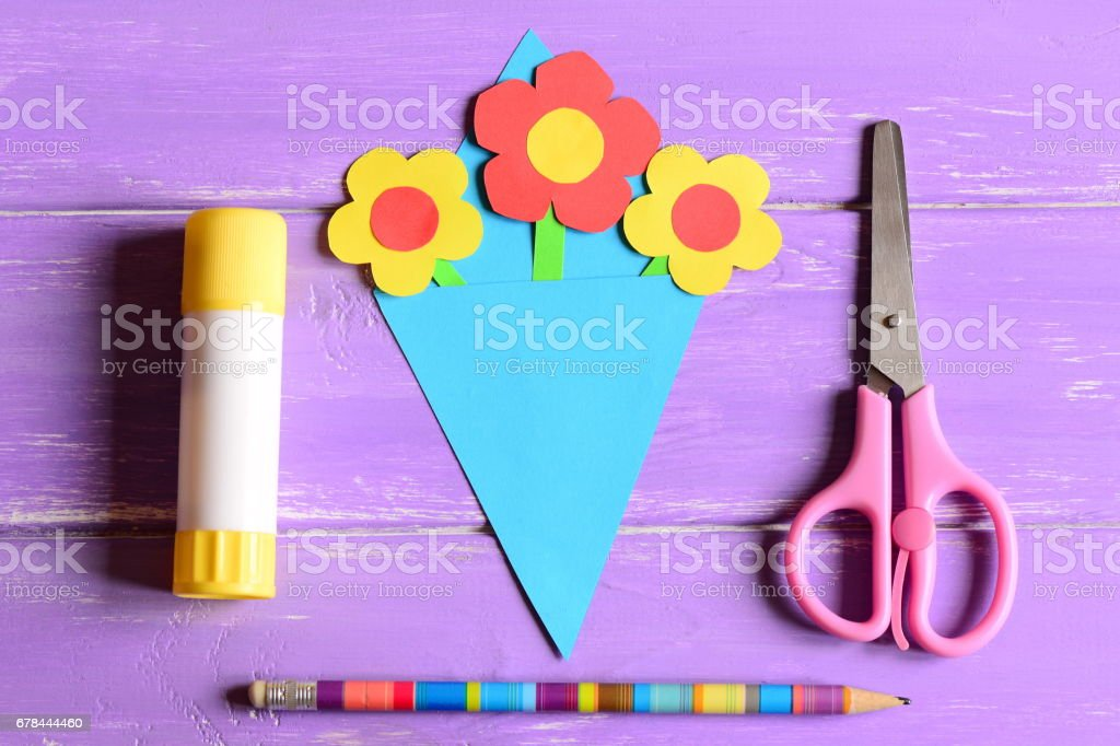 Making paper crafts for mother's day or birthday. Step. Paper flowers bouquet stock photo