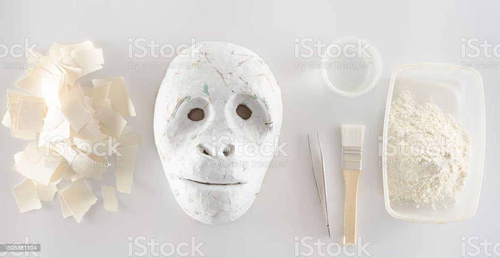 making paper mache stock photo