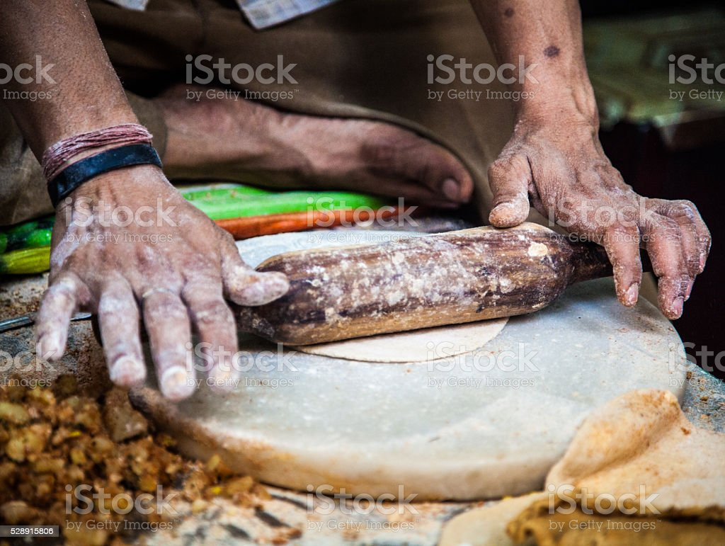 Making parathas stock photo