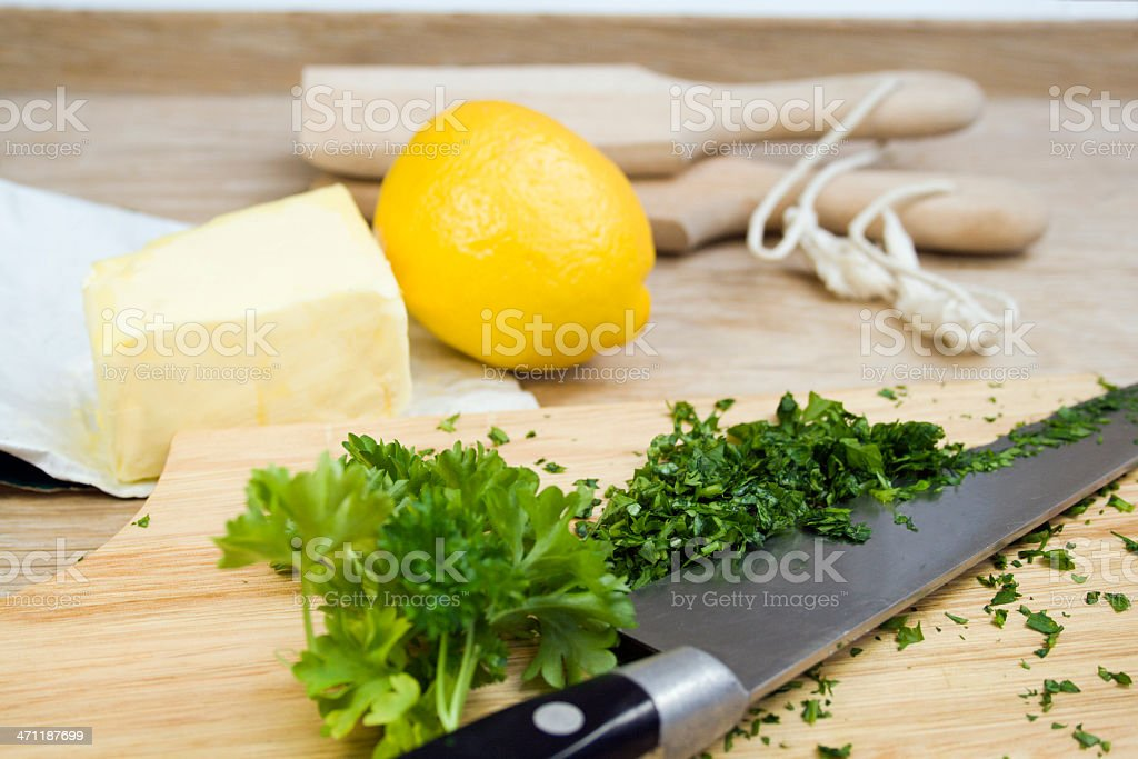 Making Parsley Butter. royalty-free stock photo