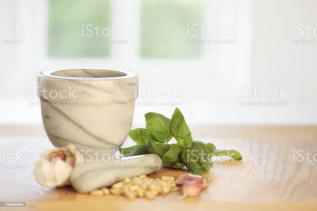 Making Pesto royalty-free stock photo
