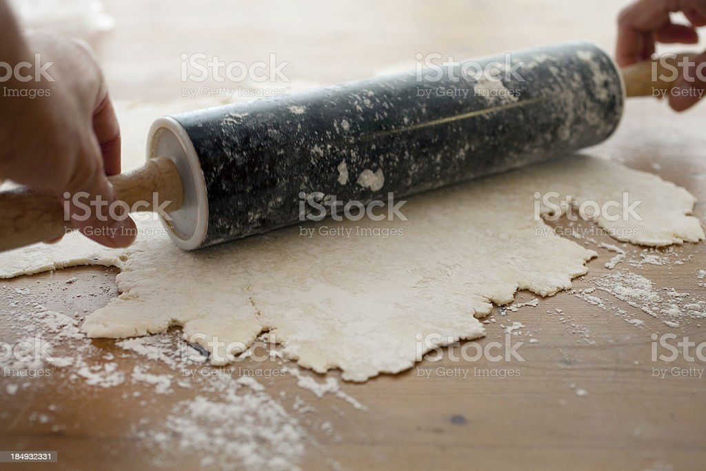 Making pie crust from scratch stock photo