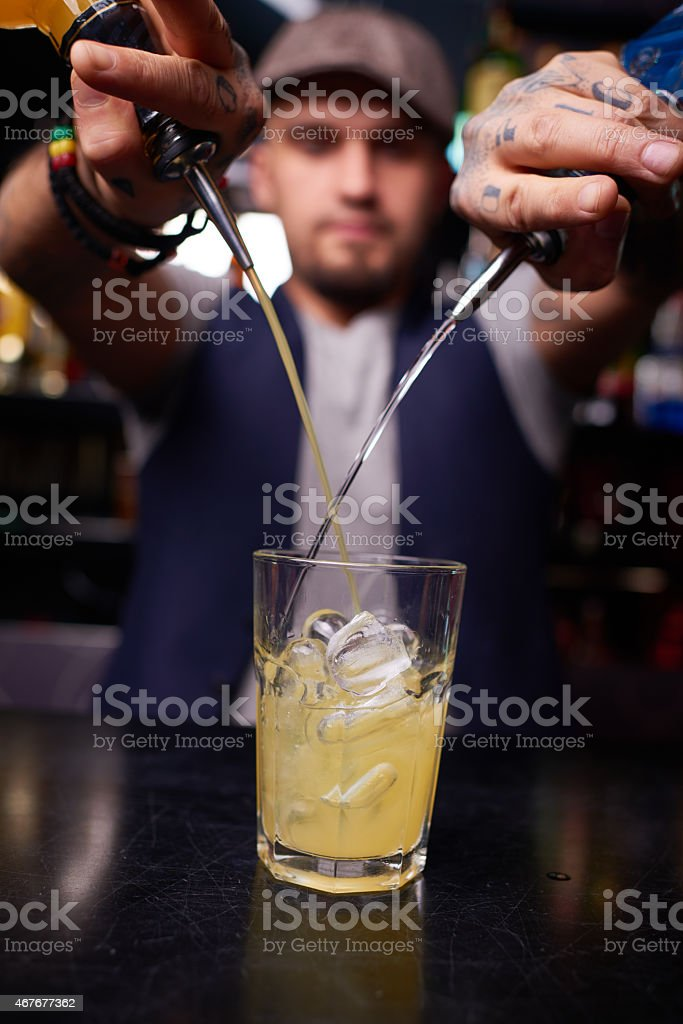 Making pina colada stock photo