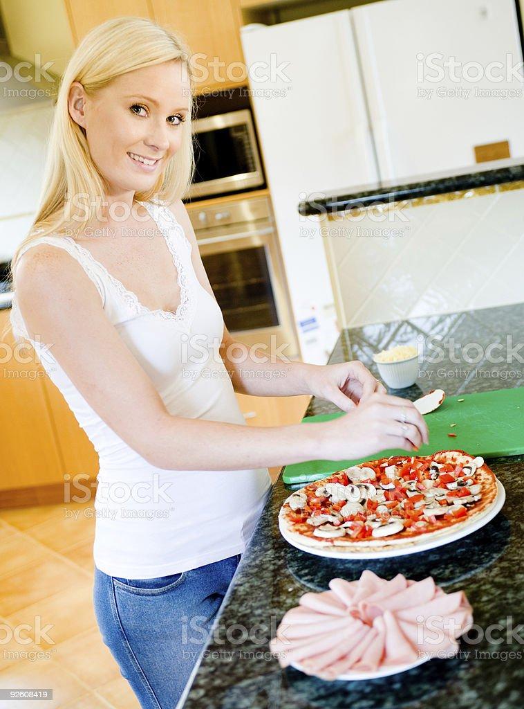 Making Pizza stock photo