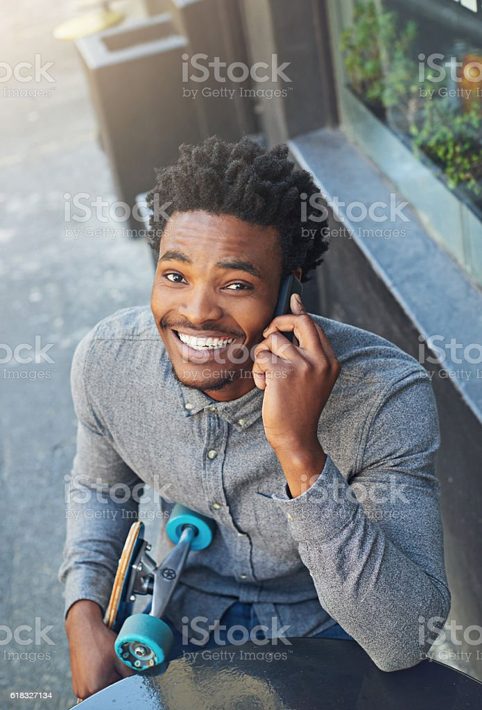 Making plans to hook up stock photo
