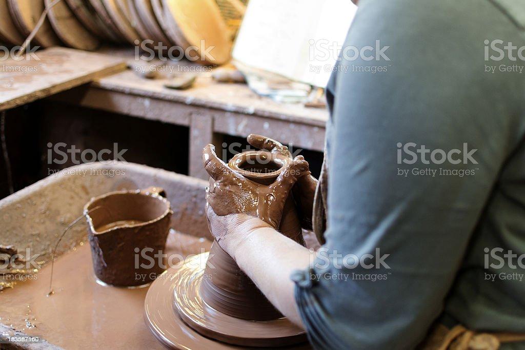 Making pottery stock photo