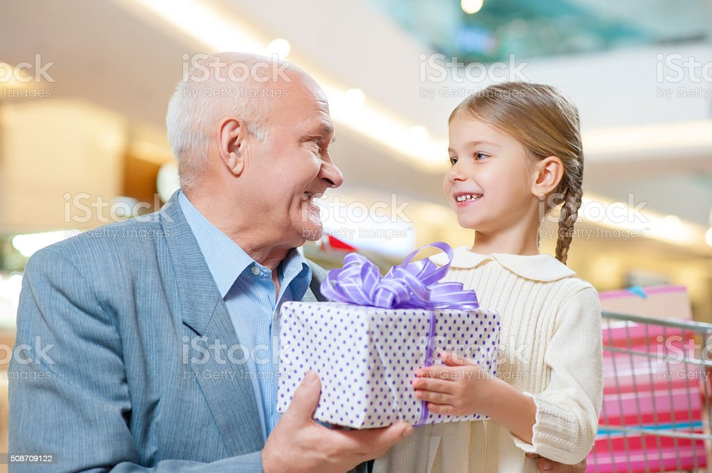 Making presents brings happiness stock photo