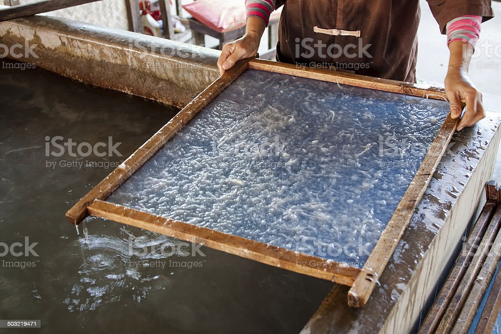 Making process made a €‹mulberry paper stock photo