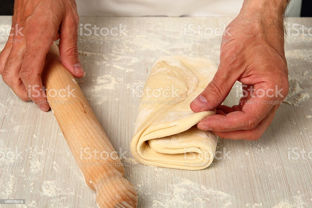 Making Puff Pastry royalty-free stock photo