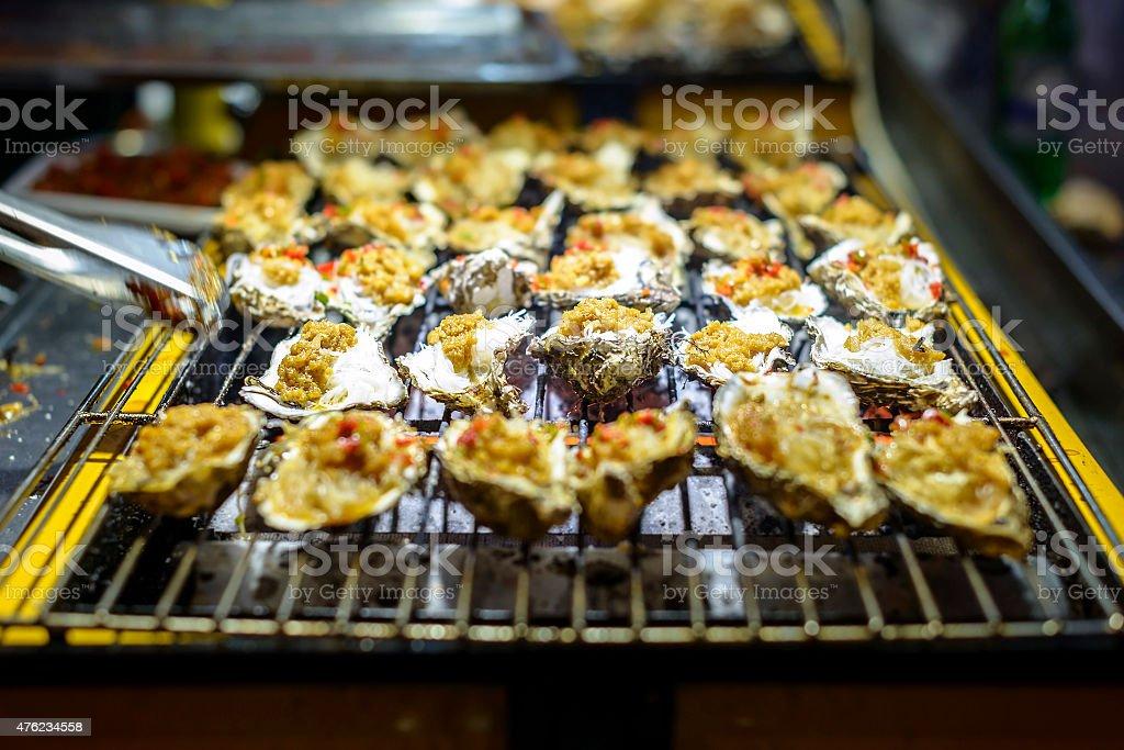Making Roast Scallop stock photo