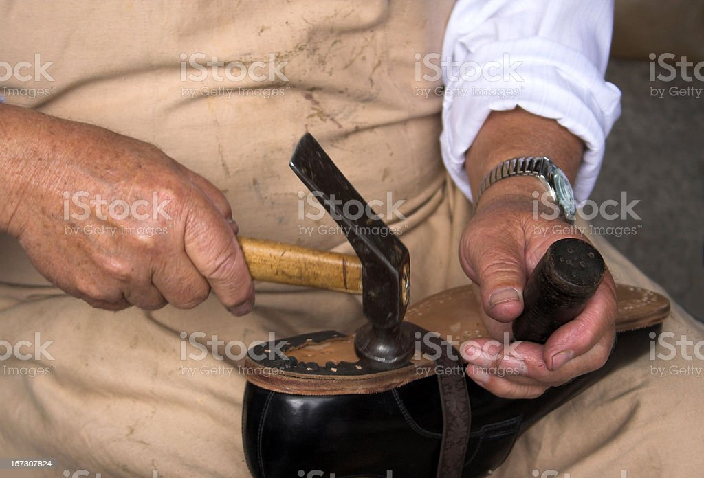 Making shoes royalty-free stock photo
