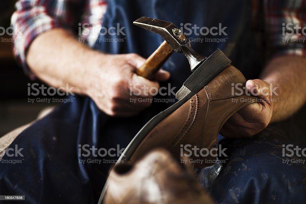Making shoes stock photo