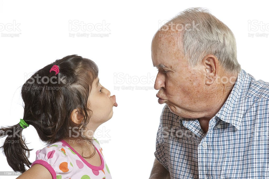 Making Silly Faces With Grandpa royalty-free stock photo