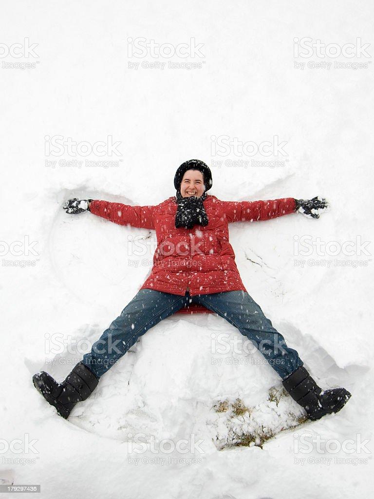 Making Snow Angel stock photo
