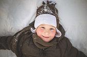 Making snow angel