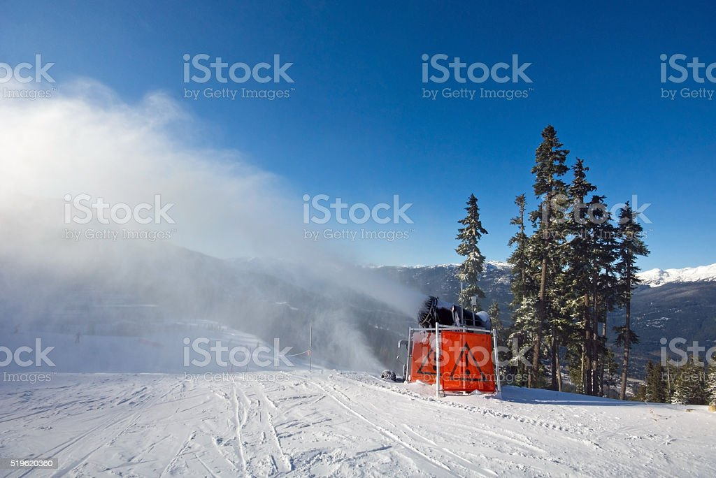 Making Snow in Whistler stock photo