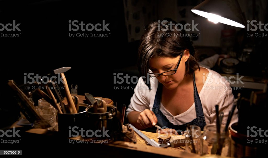 Making something beautiful takes hard work royalty-free stock photo