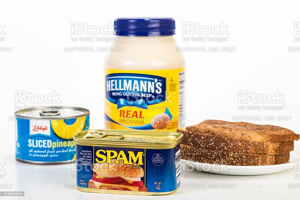 Making Spam Sandwich stock photo