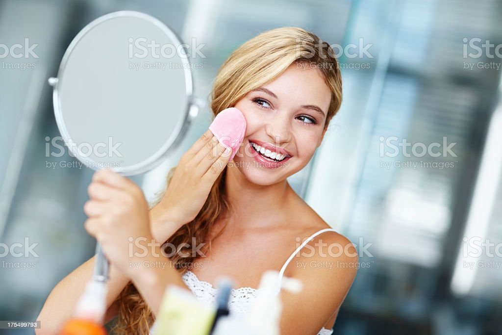 Making sure her skin feel silky smooth stock photo