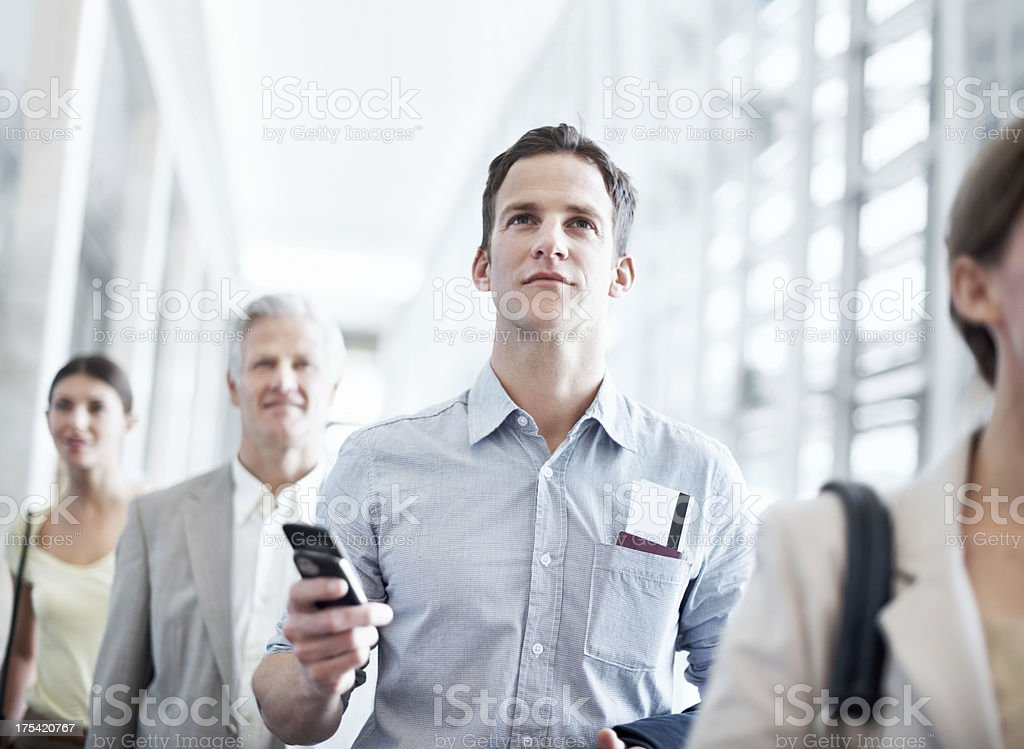 Making sure he's in the right terminal royalty-free stock photo