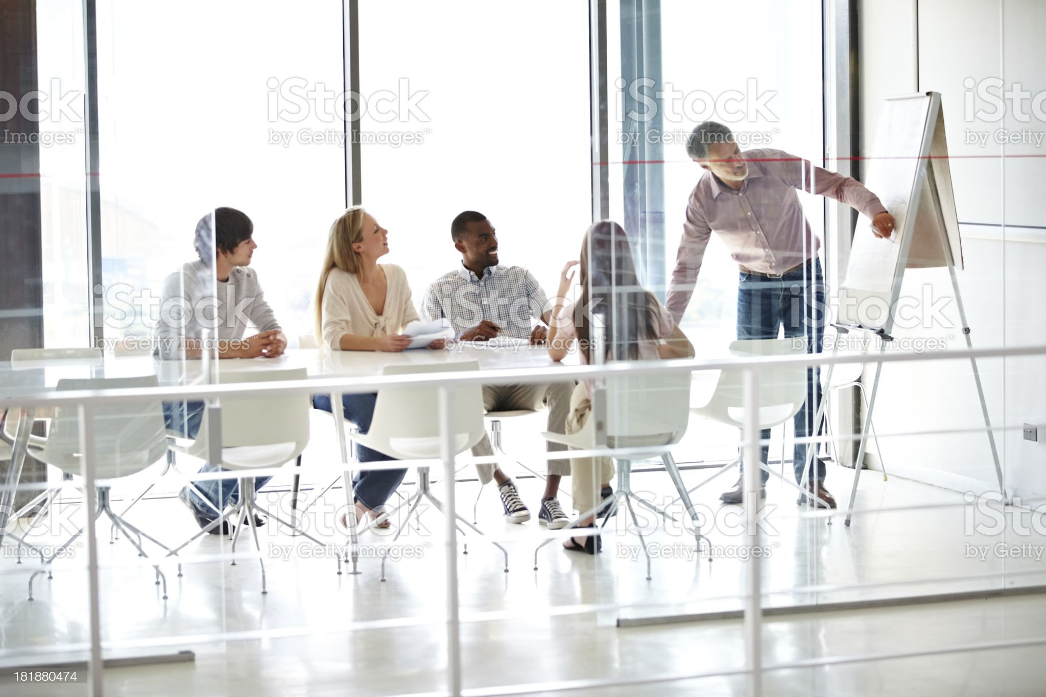 Making sure his staff are on top of their game royalty-free stock photo