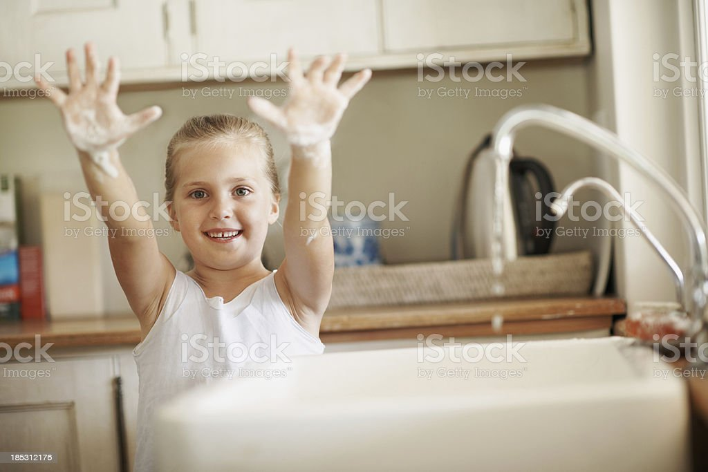 Making sure my hands are spotless royalty-free stock photo