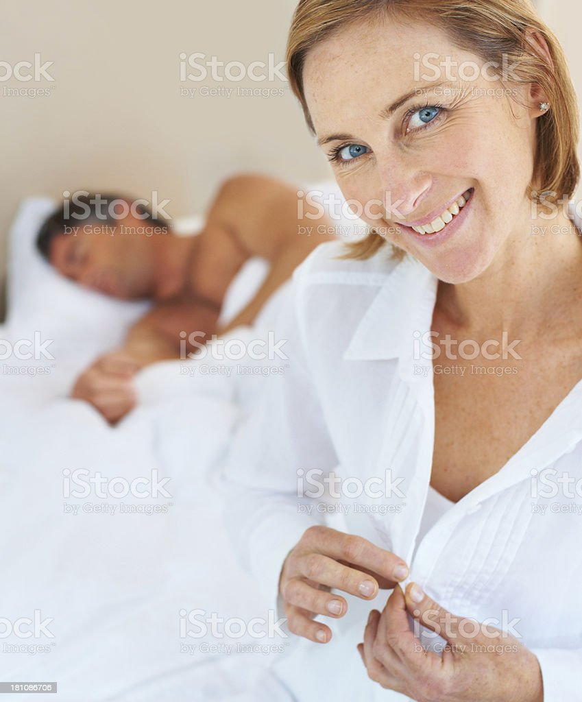 Making sure she gets ready on time stock photo