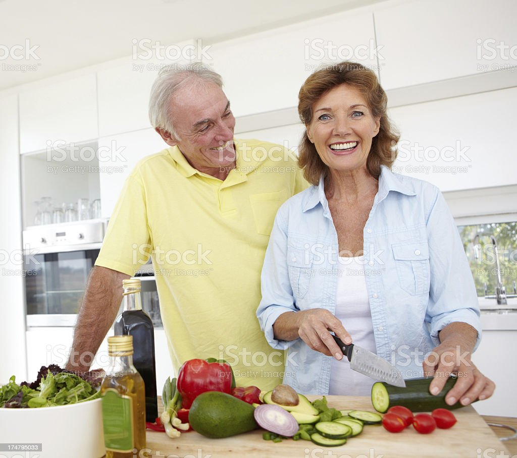 Making sure that my man eats a healthy meal everyday royalty-free stock photo