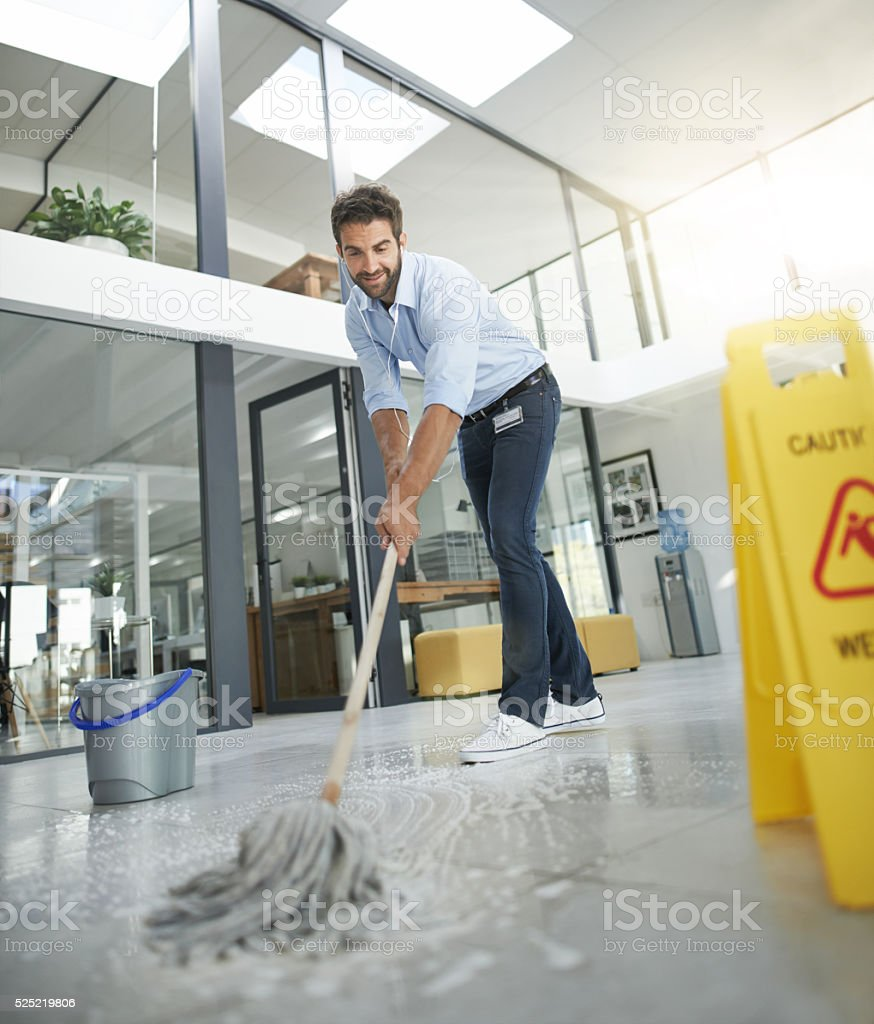 Making sure the floors are nice and clean stock photo