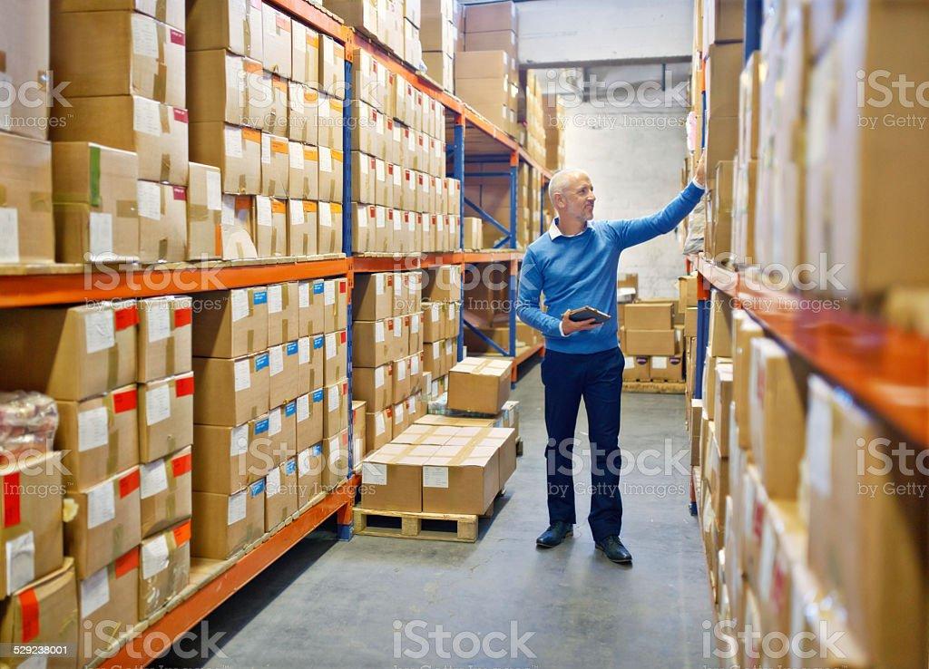 Making sure the warehouse runs well stock photo