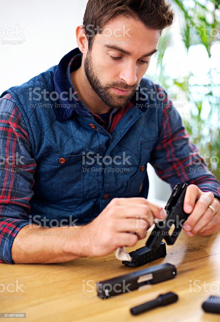 Making sure to not miss a single spot stock photo
