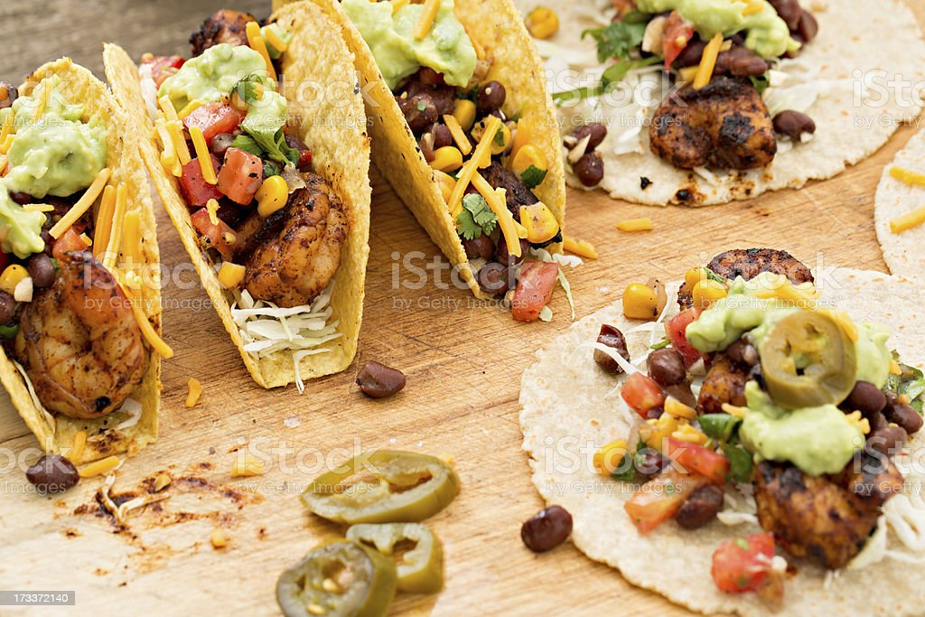 Making Tacos royalty-free stock photo